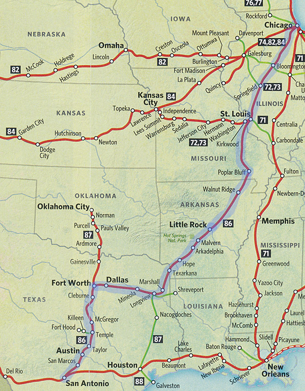 Texas Eagle Route Map